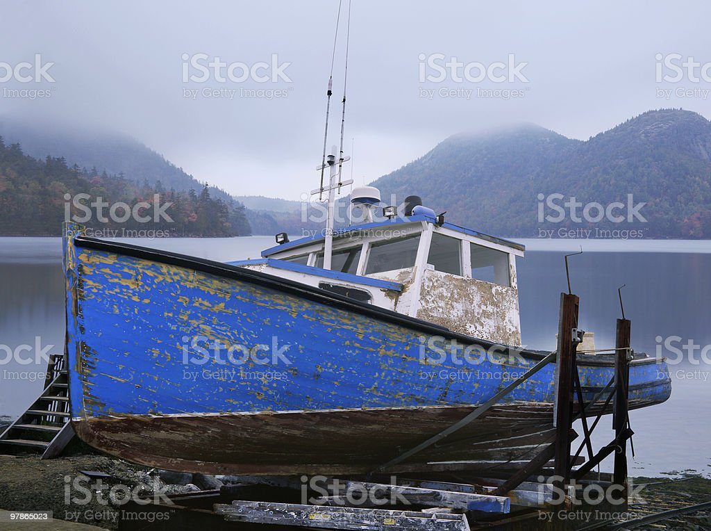 Old Lobster Boat stock photo