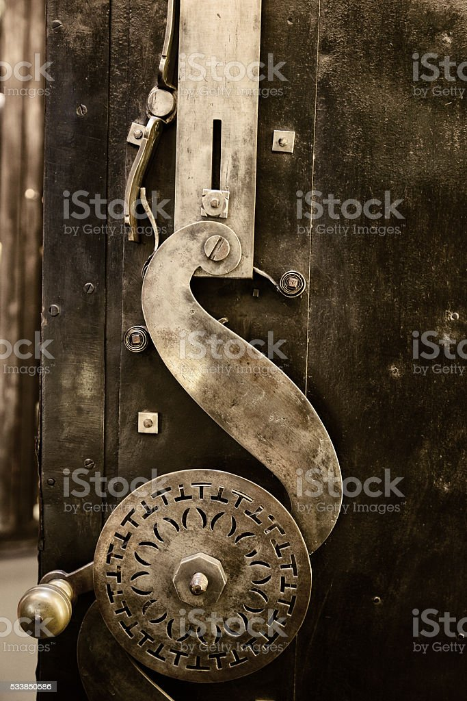 old lock of ancient iron safe stock photo