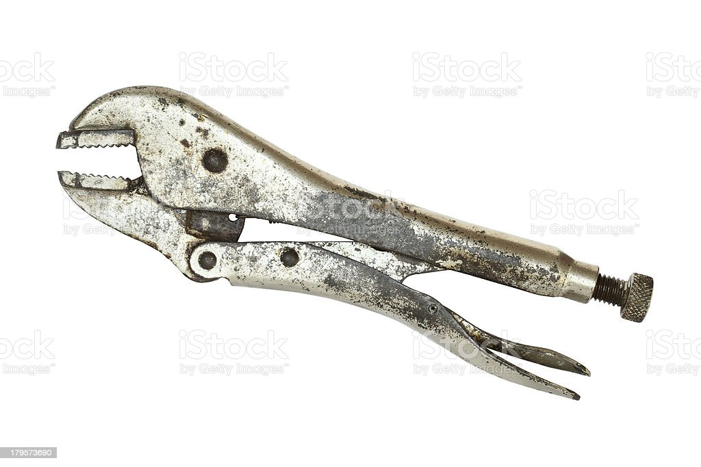Old locking pliers stock photo