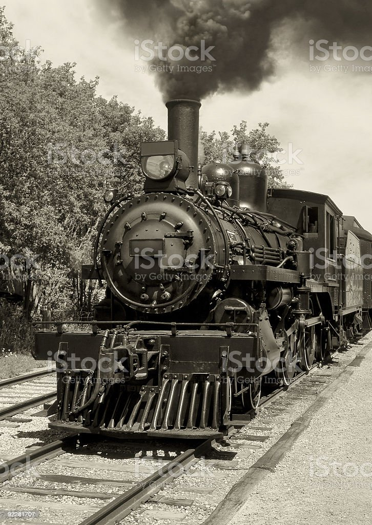Old locomotive sepia stock photo