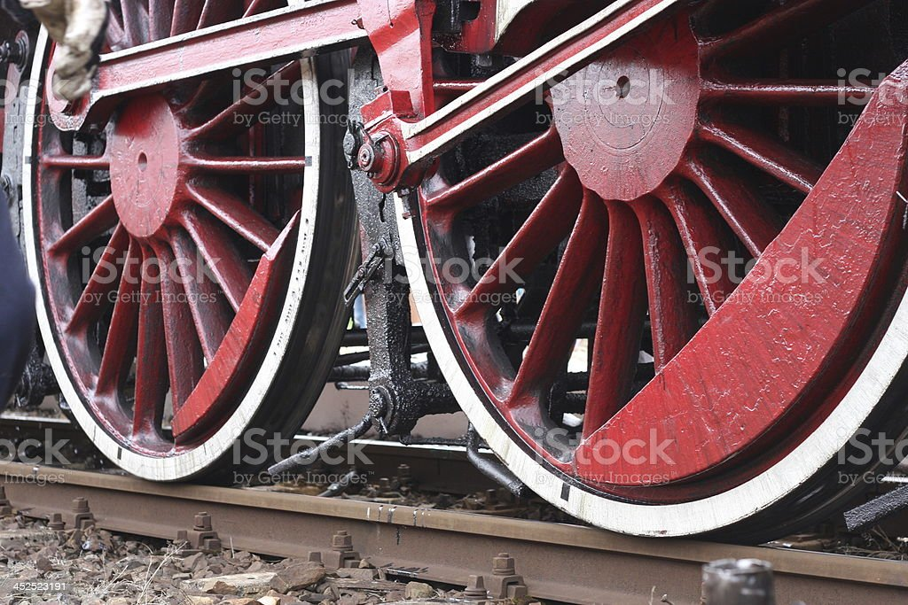 Old locomotive wheels royalty-free stock photo