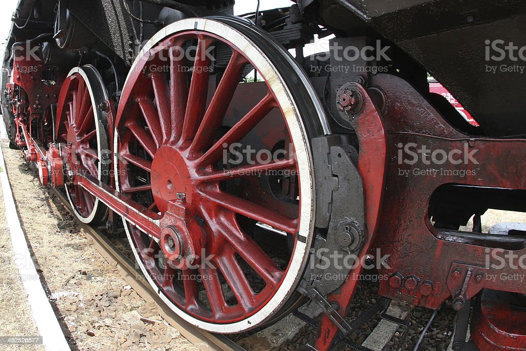 Old locomotive wheels royalty-free stock photo