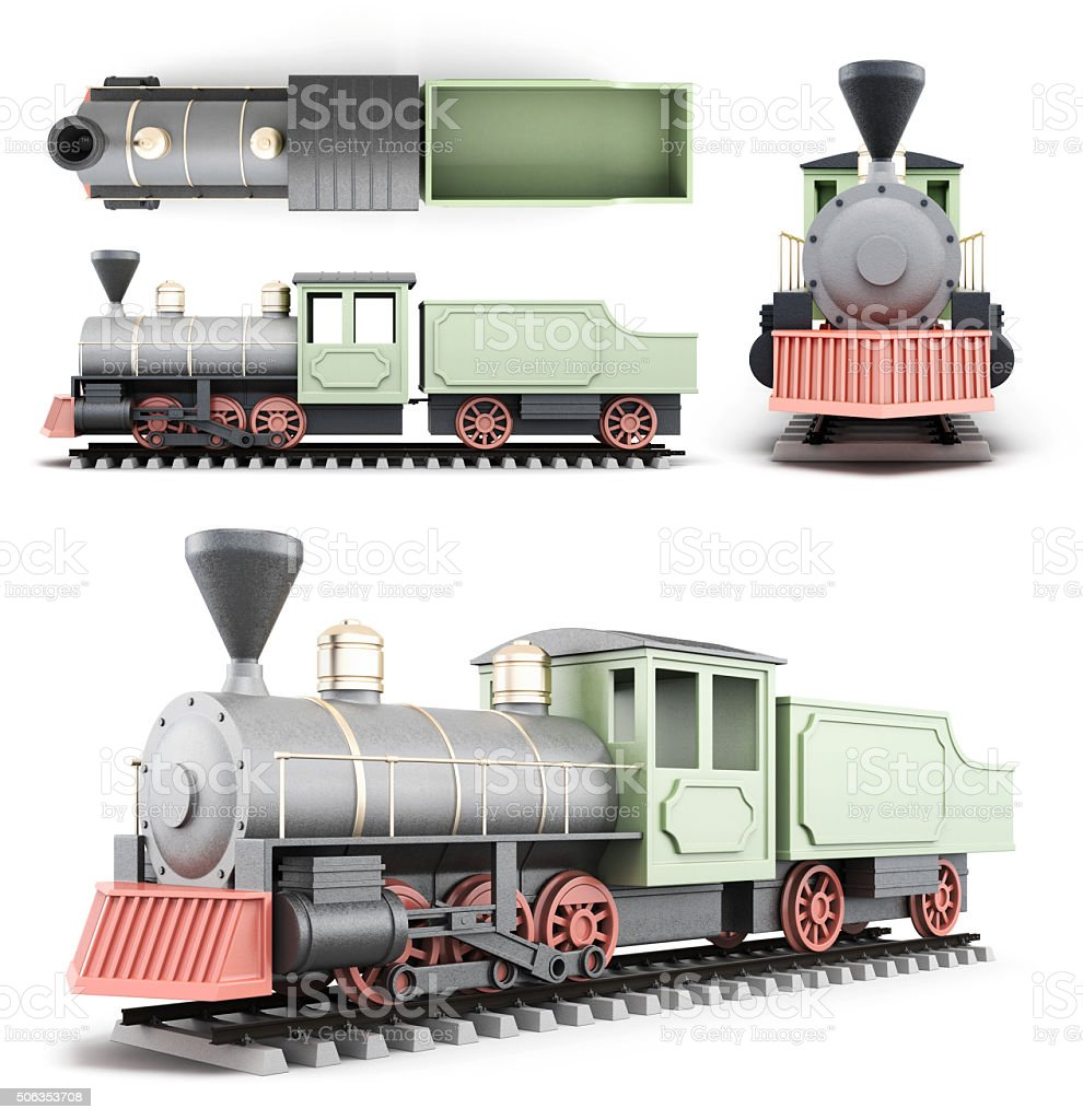 Old locomotive with the car at different angles stock photo