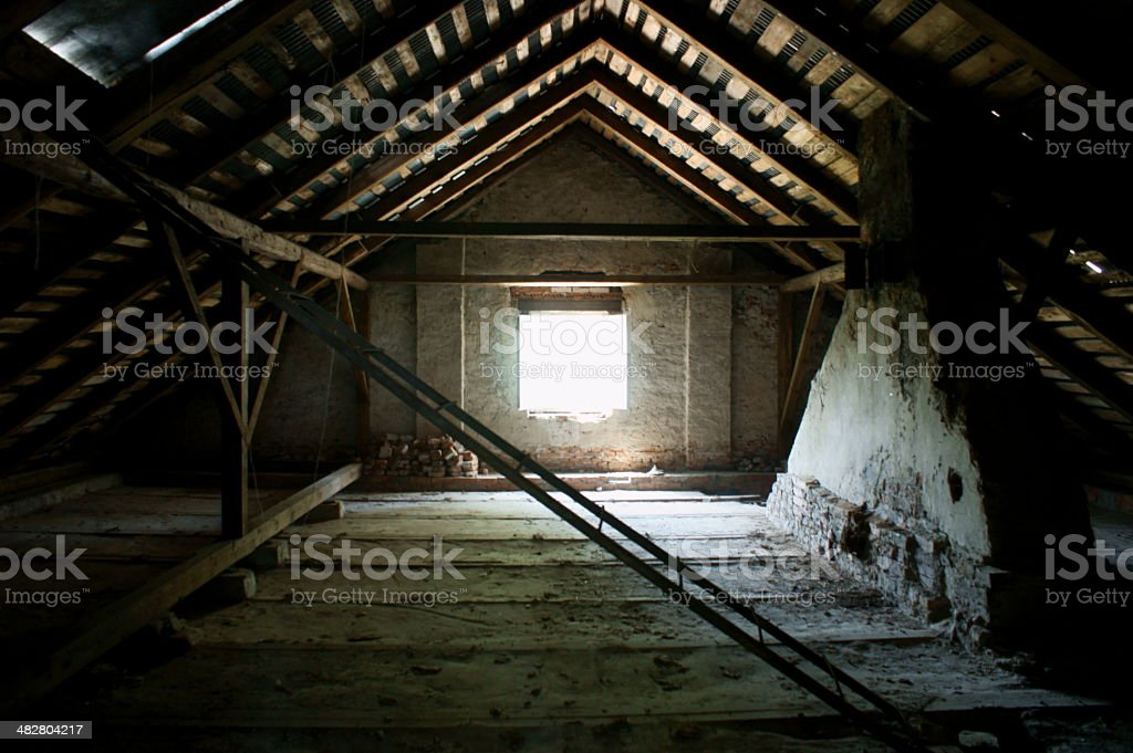 Old loft in an abandoned palace stock photo