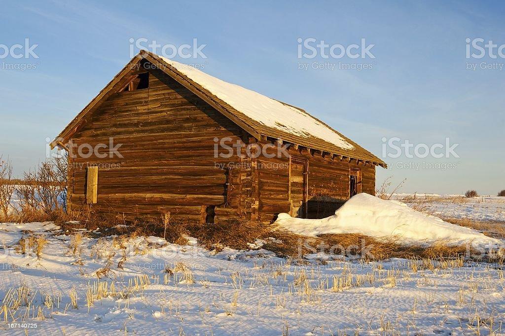 old log barn at sunrise royalty-free stock photo