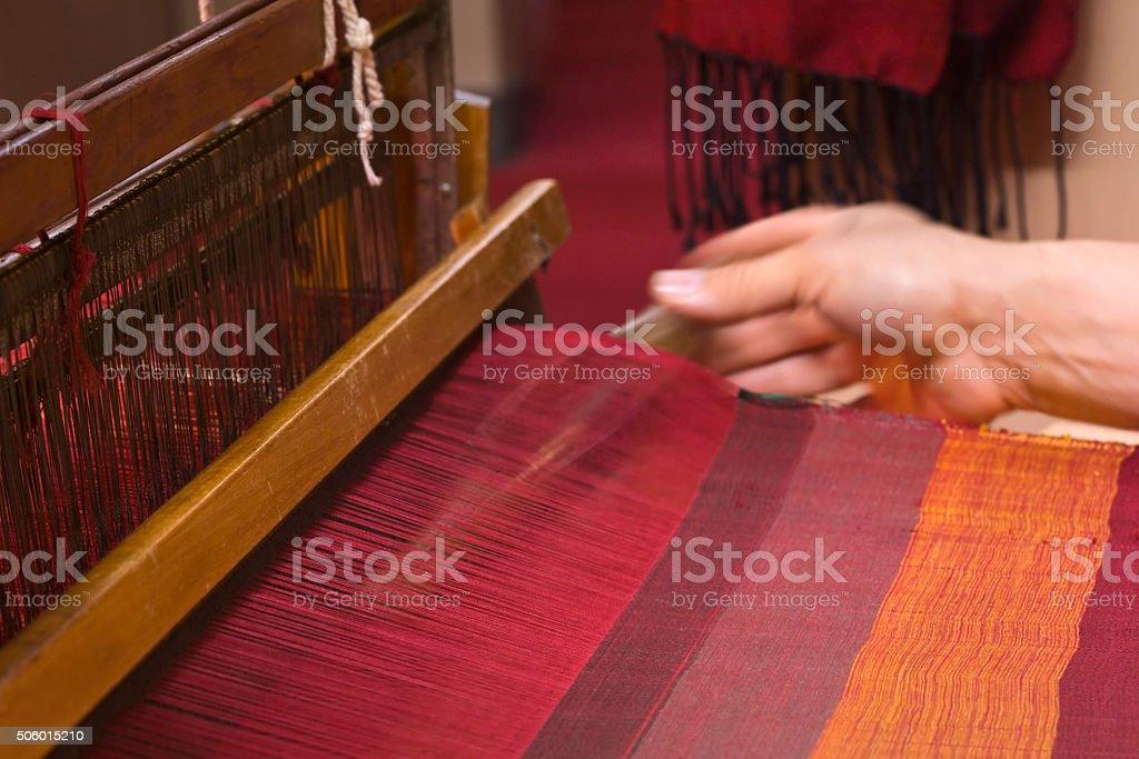 Old Loom weaving stock photo
