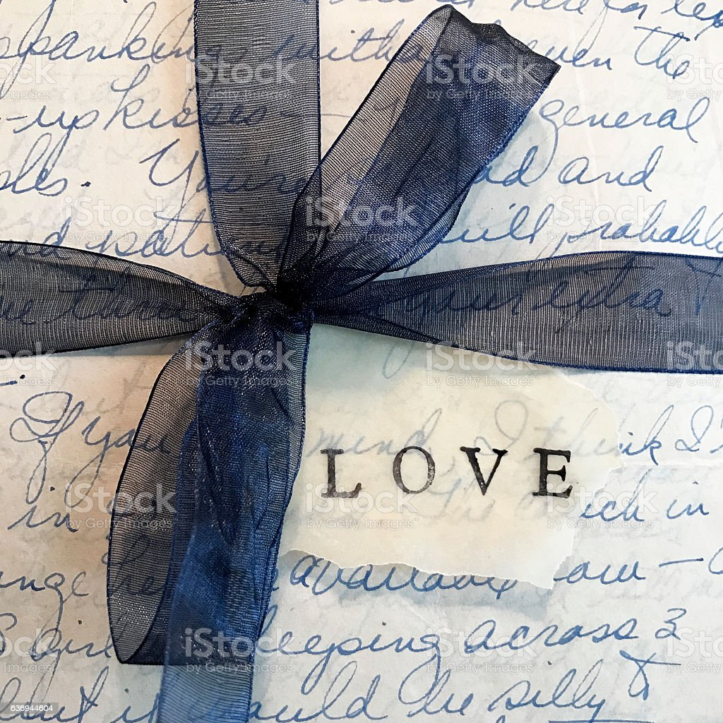 Old Love Letters with Blue Bow stock photo