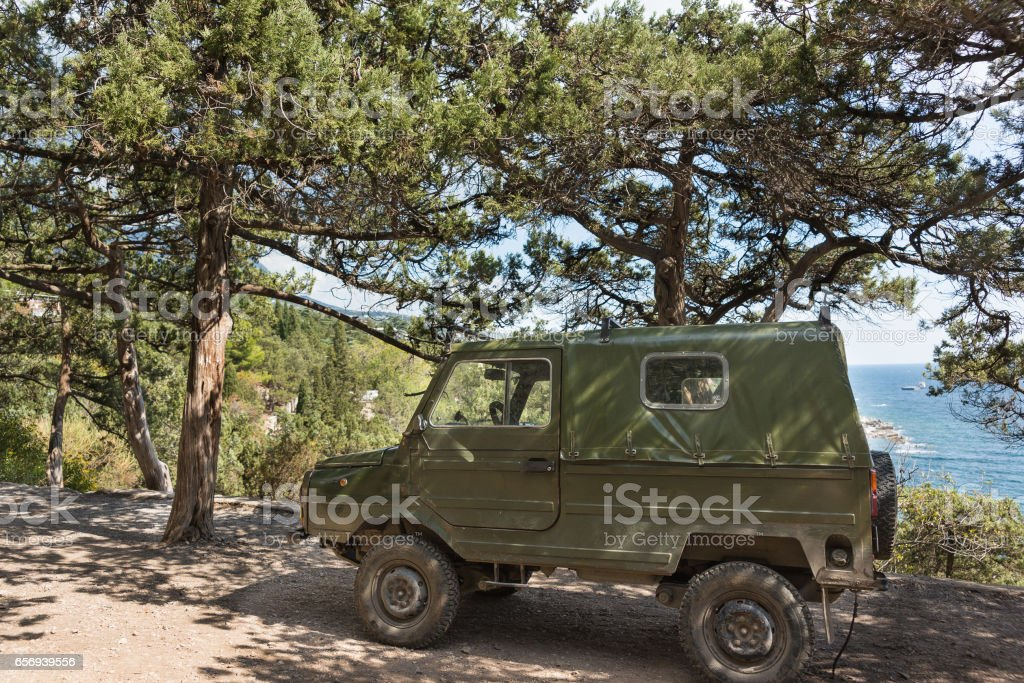Old LUAZ-969 'Volyn' - terrain vehicles, manufactured at Lutsk automobile plant. stock photo