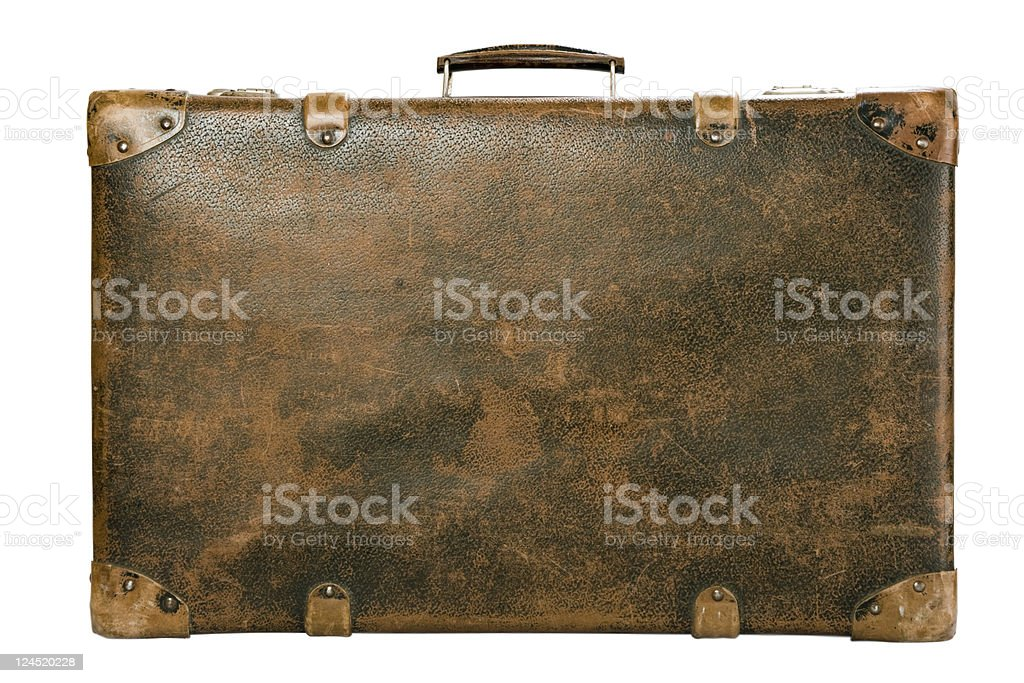 Old luggage trunk on a white background stock photo