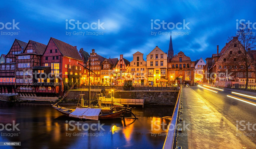 Old Luneburg (Luneberg) Harbour at night stock photo