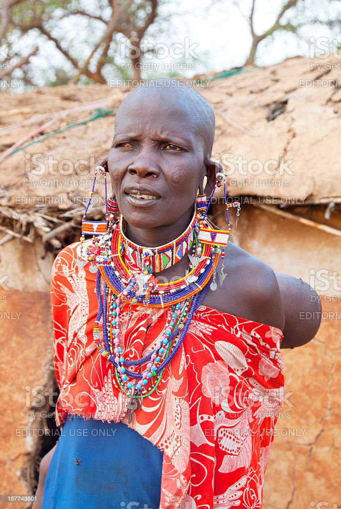 Old Maasai woman with one blind eye. stock photo