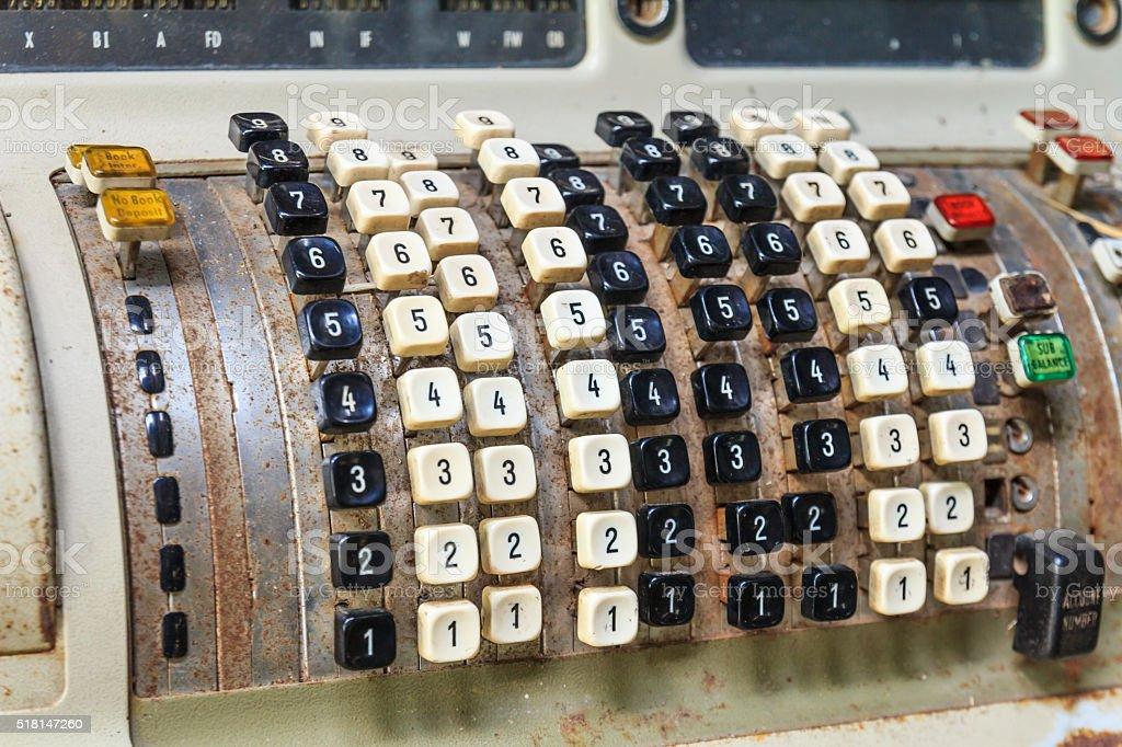 Old machine calculator. stock photo