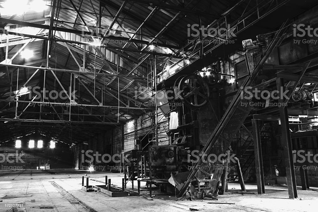 Old Machinery In Abandoned Factory royalty-free stock photo