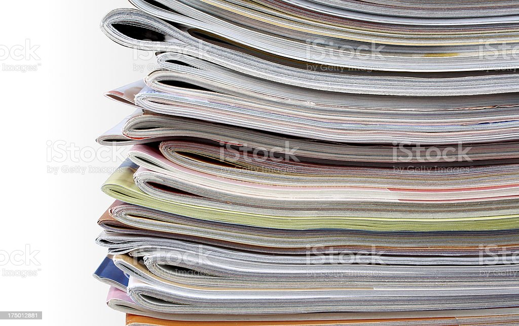 Old magazines as background, close up royalty-free stock photo