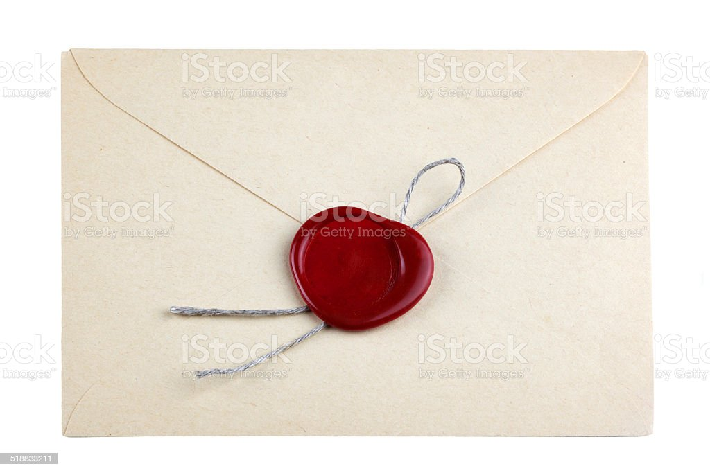 old mail envelope with red wax seal stamps stock photo