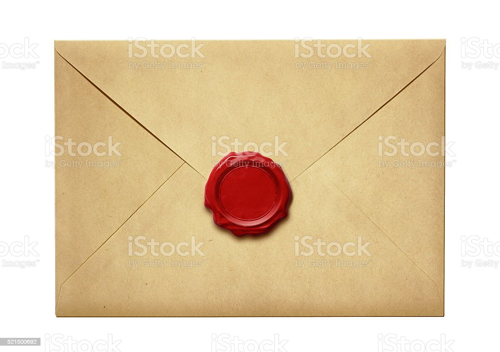 Old mail envelope with wax seal isolated stock photo