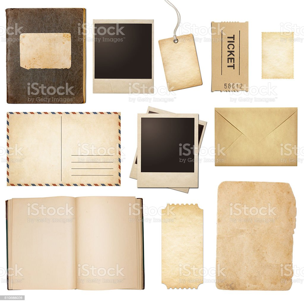 Old mail, paper, book, polaroid frames, stamp isolated stock photo