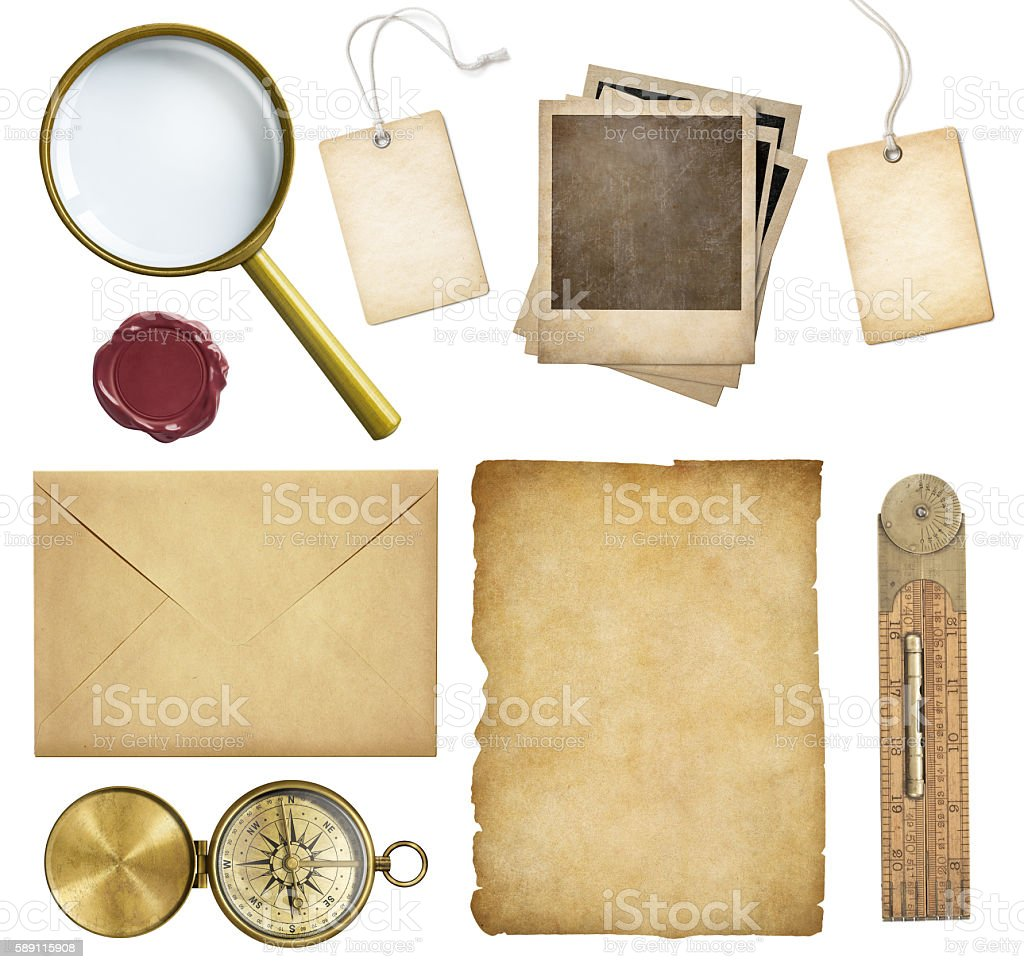 Old mail, paper, price tags, polaroid frames, wax seal, etc. stock photo