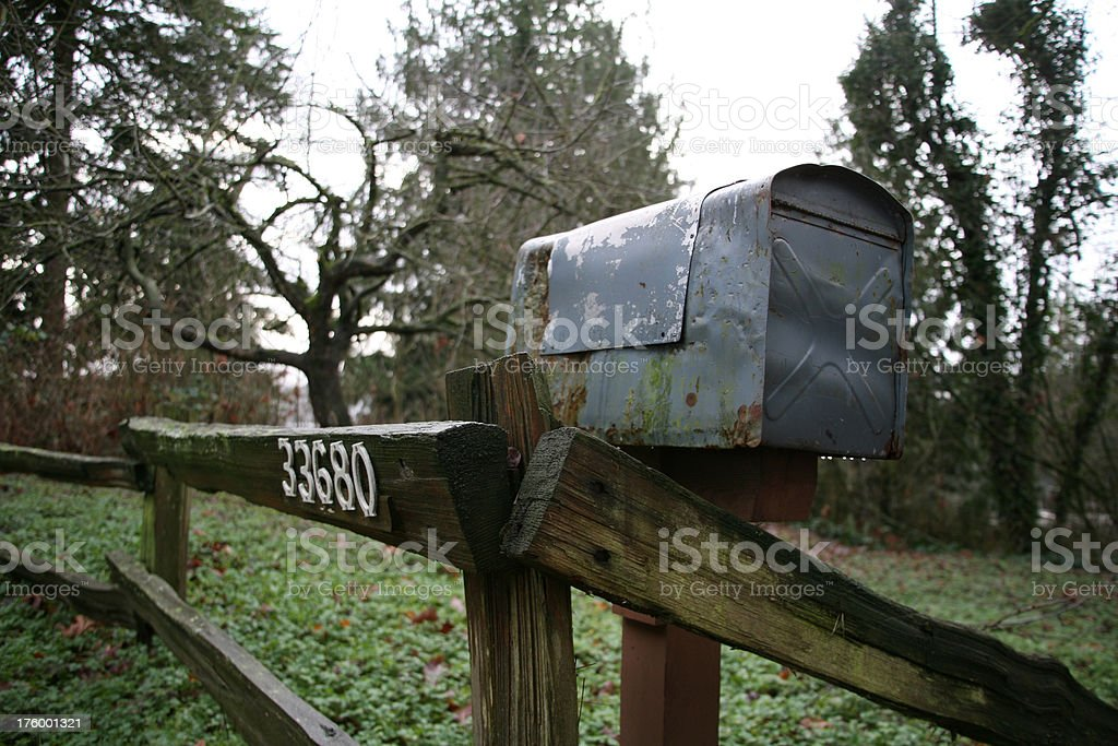 old mailbox on fence stock photo