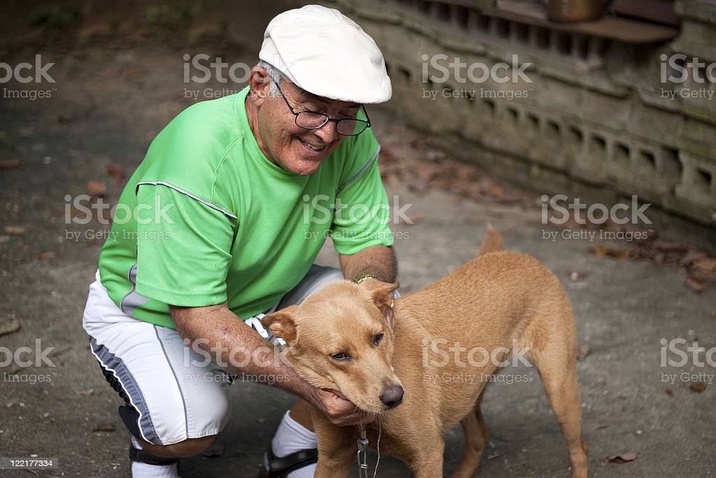 Old Man and His Dog stock photo