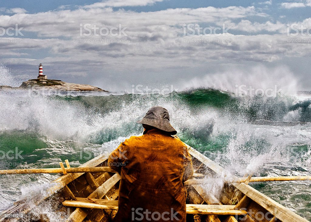 Old man and the Sea in a Skiff stock photo
