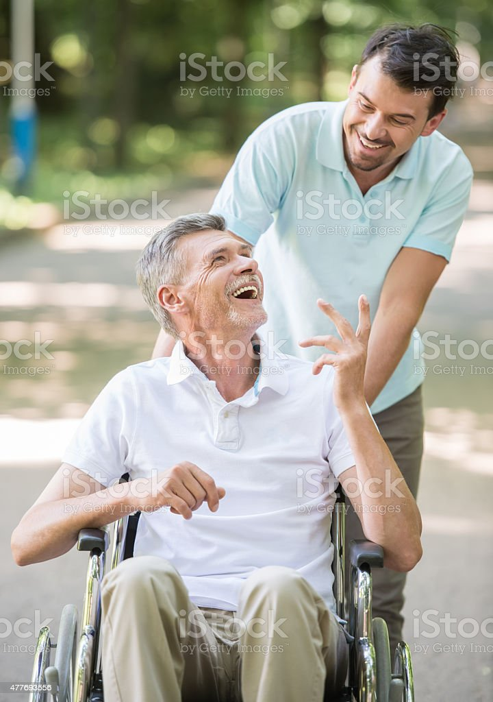 Old man at hospital stock photo