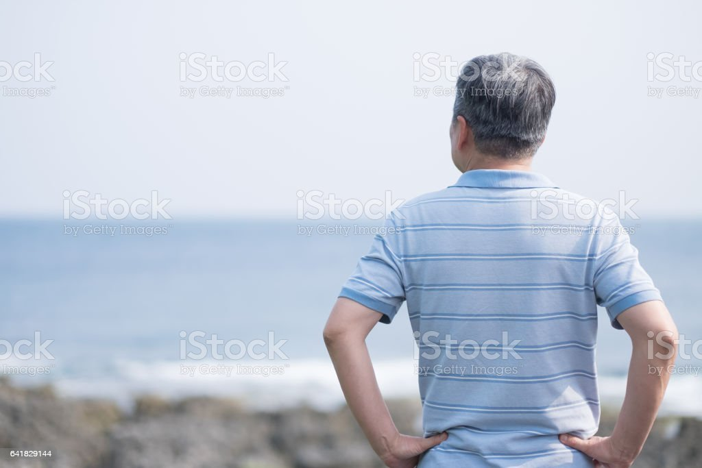 old man back to you stock photo