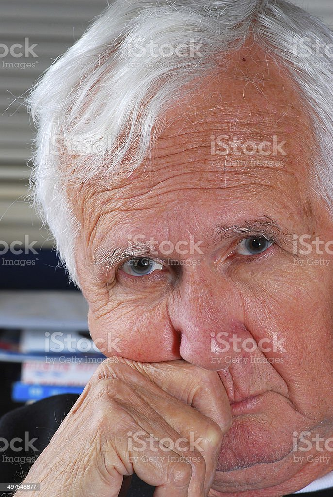 Old Man Curious Expression stock photo
