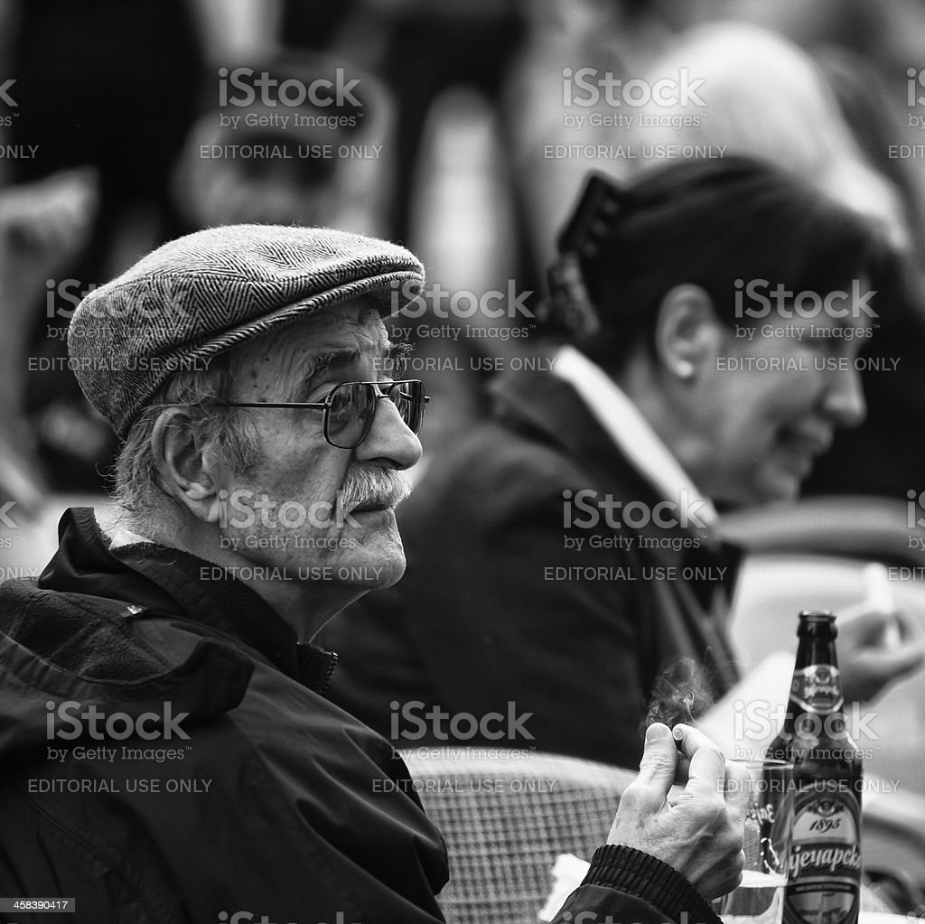 Old Man in a cafe royalty-free stock photo