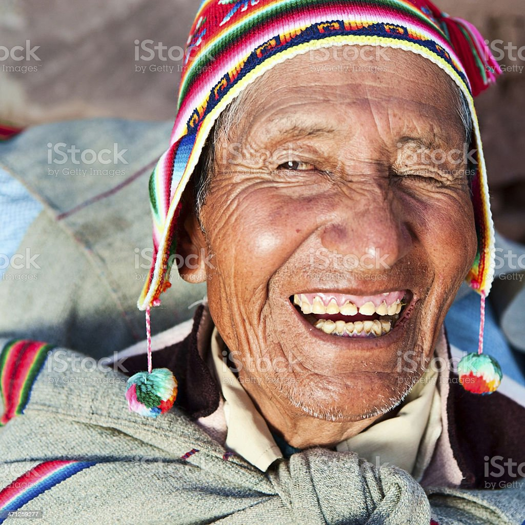 Old man in national clothing on Taquile Island, Peru royalty-free stock photo