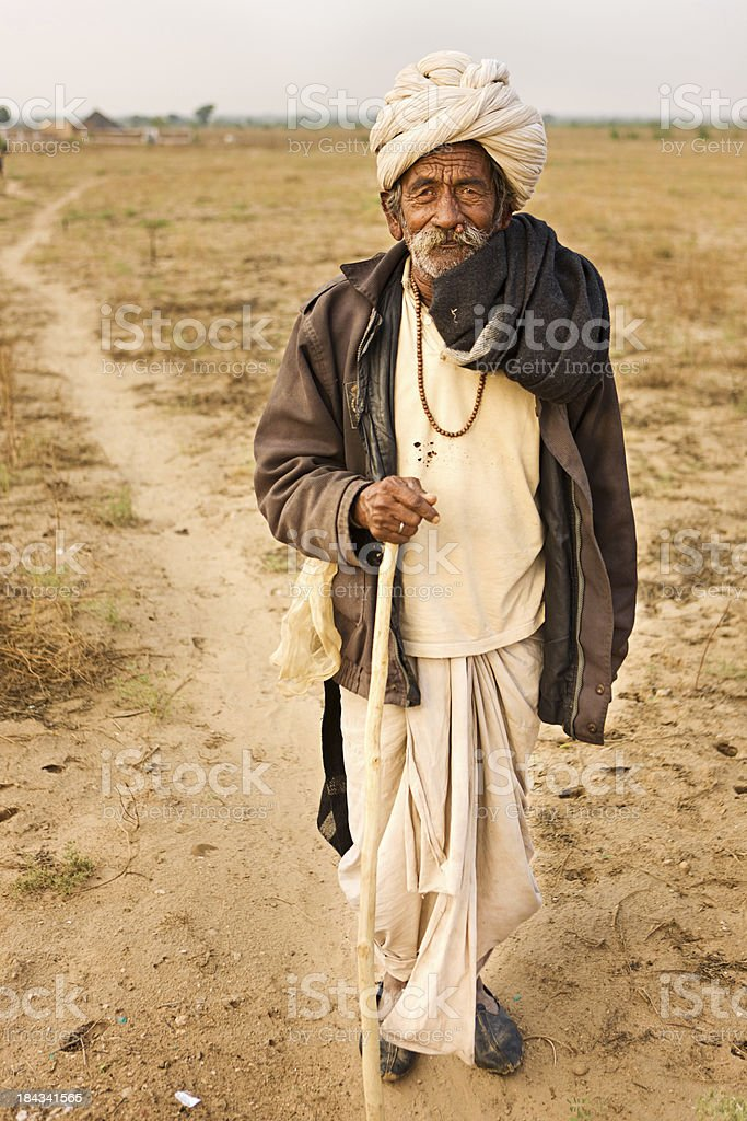 Old man in Rajasthan stock photo