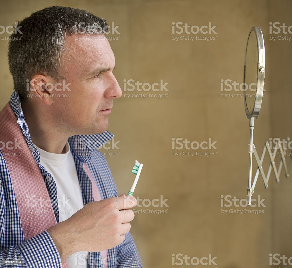 old man in the mirror royalty-free stock photo