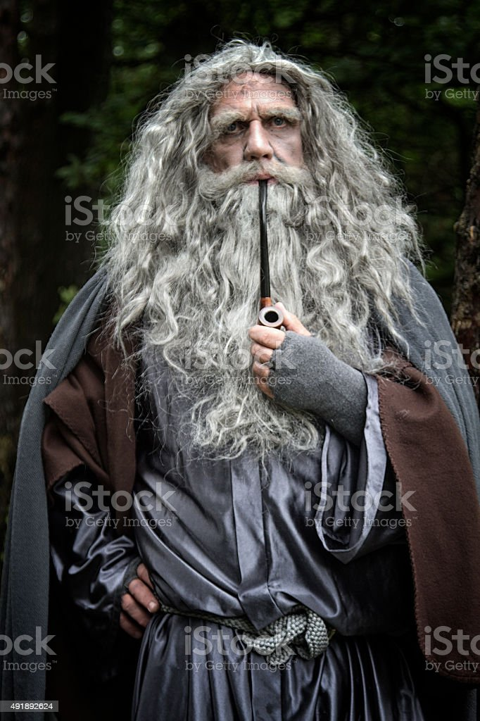 Old man in Wizard costume stock photo