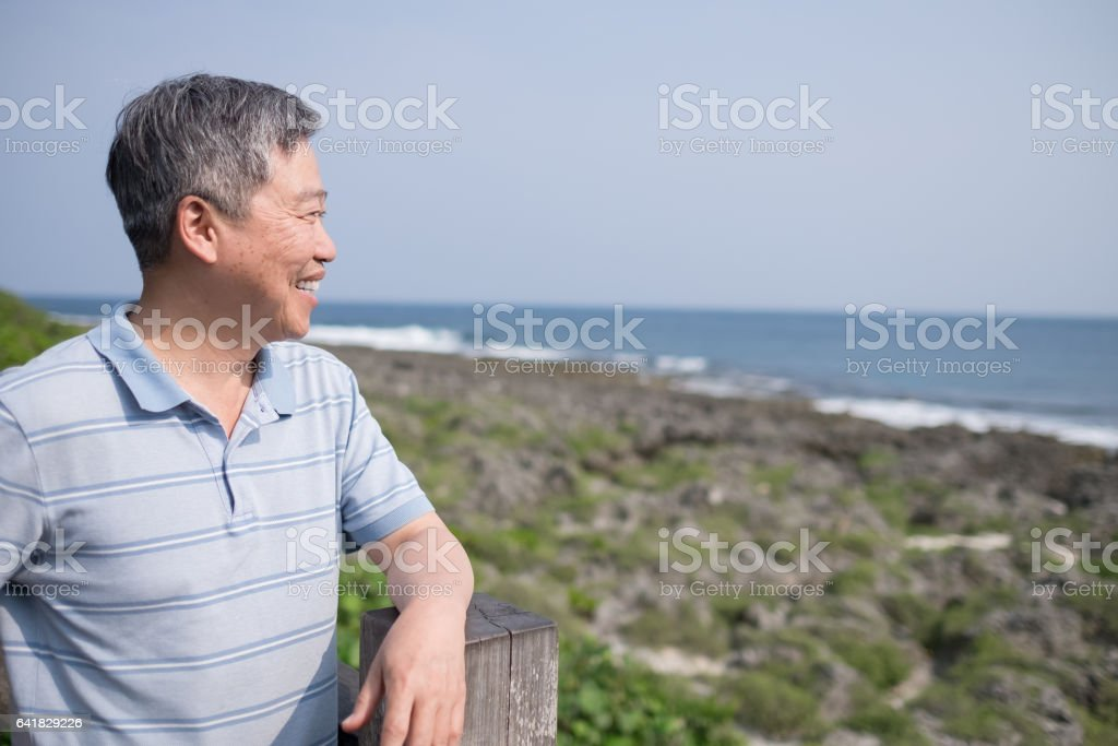 old man look somewhere stock photo