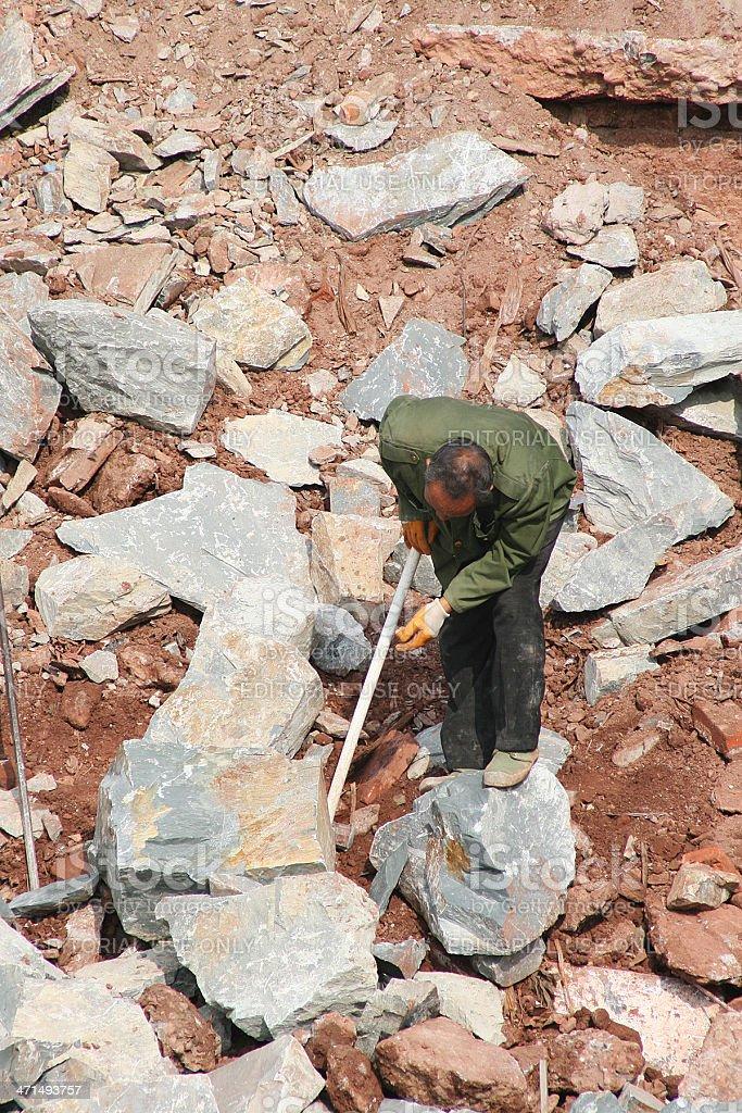 Uomo anziano di Rocks, provincia di Jiangxi foto stock royalty-free