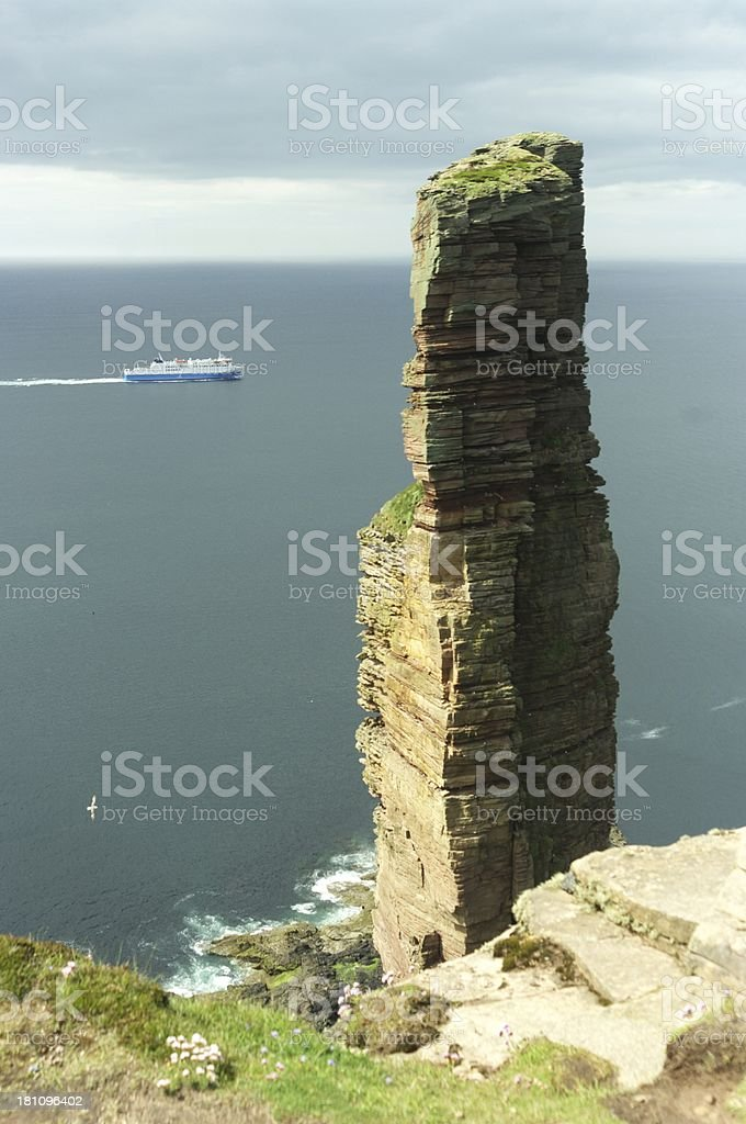 Old man of Hoy with ferry royalty-free stock photo