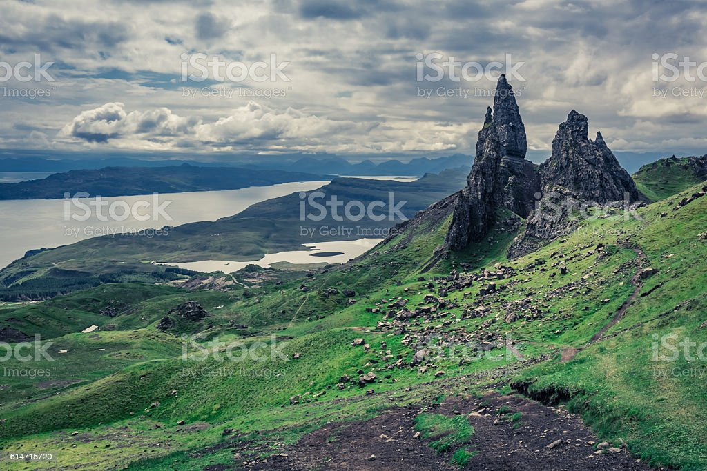 Old Man of Storr in Isle of Skye, Scotland stock photo