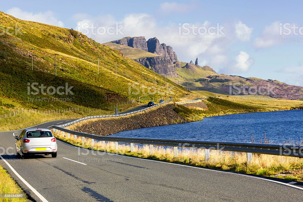 Old Man of Storr on Isle of Skye, Scotland stock photo
