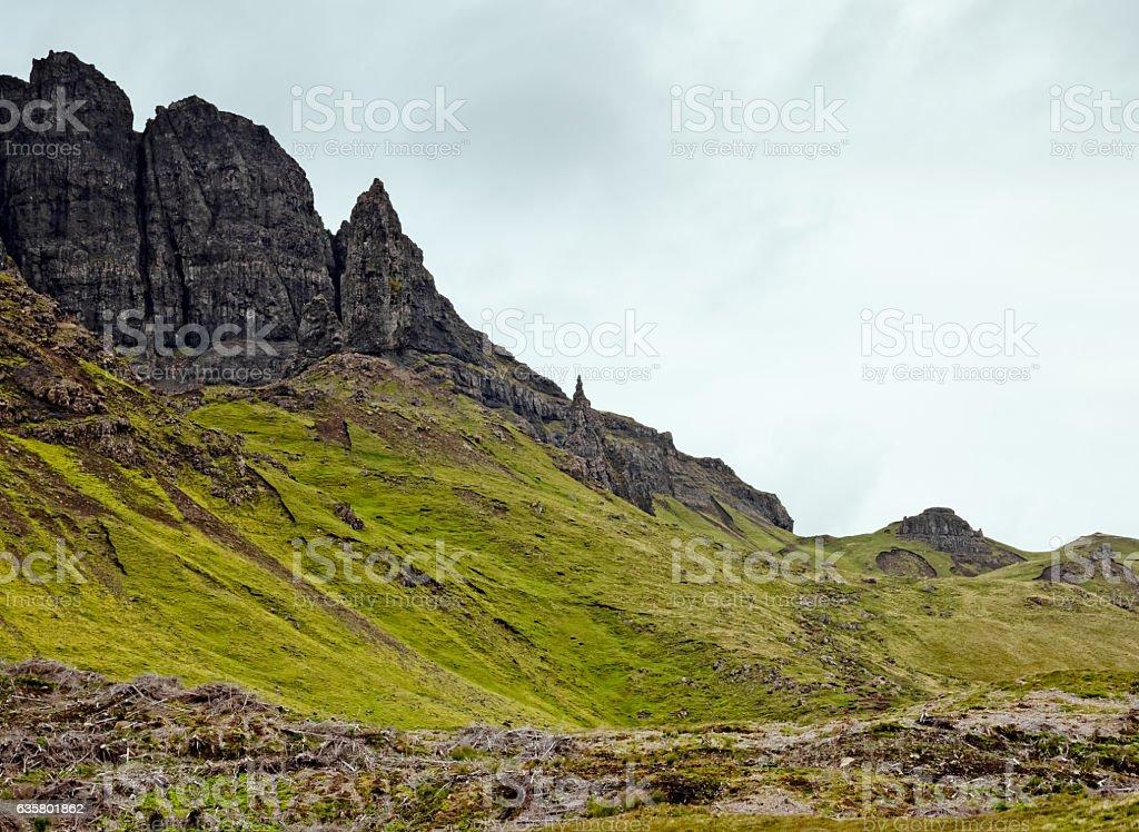 Old Man of Storr pinnacle on Skye, Scotland stock photo