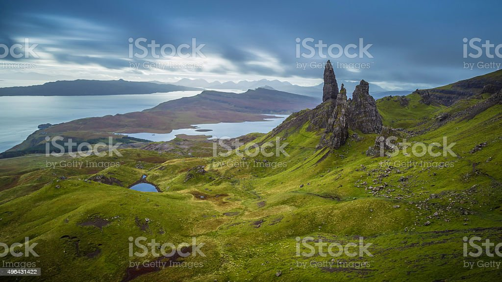 Old man of Storr, Scottish highlands in a cloudy morning stock photo