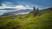 Old man of Storr, Scottish highlands in a cloudy morning