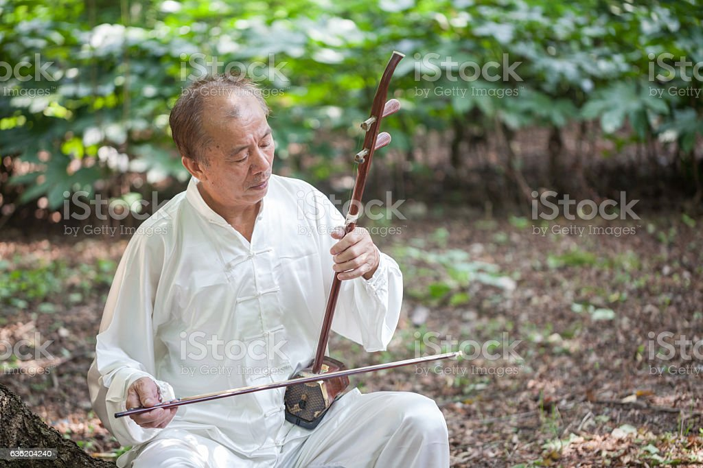 old man playing chinese traditional erhu stock photo