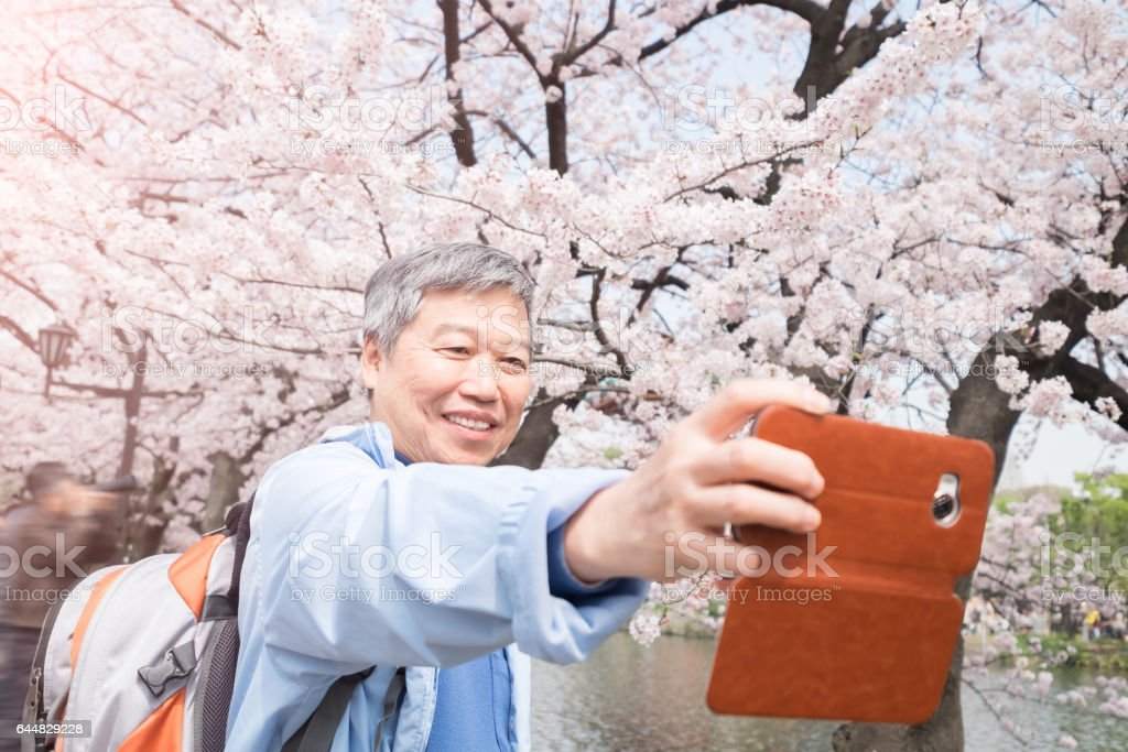 old man selfie stock photo