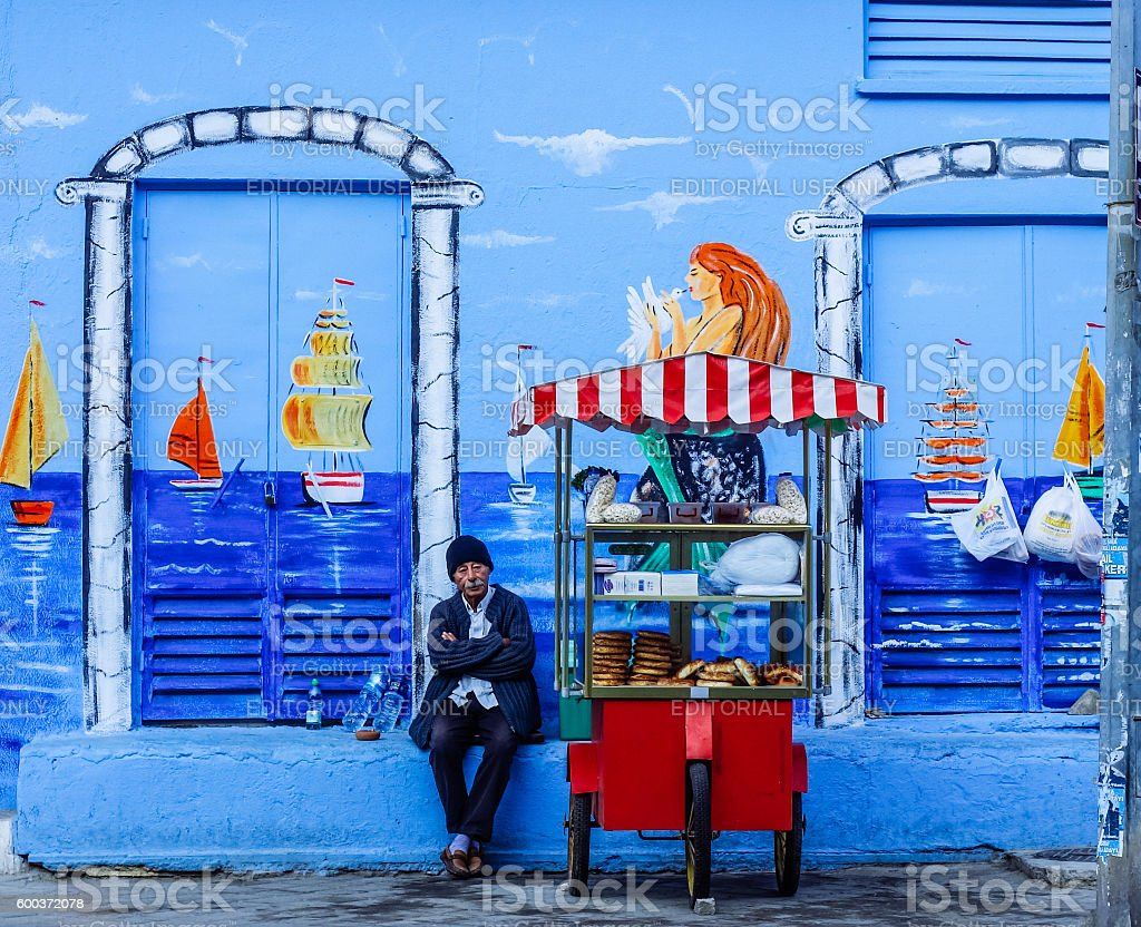 old man selling local Turkish food, royalty-free stock photo