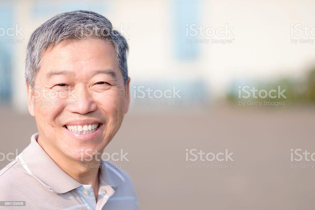 old man smile to you stock photo