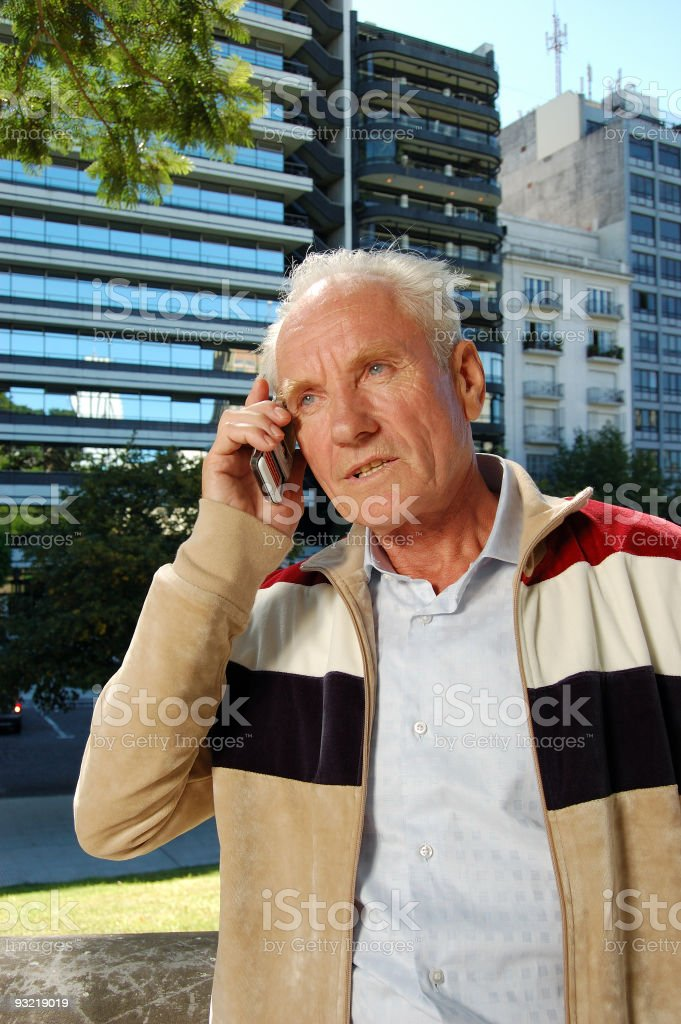 Old Man Talking on Cellphone royalty-free stock photo