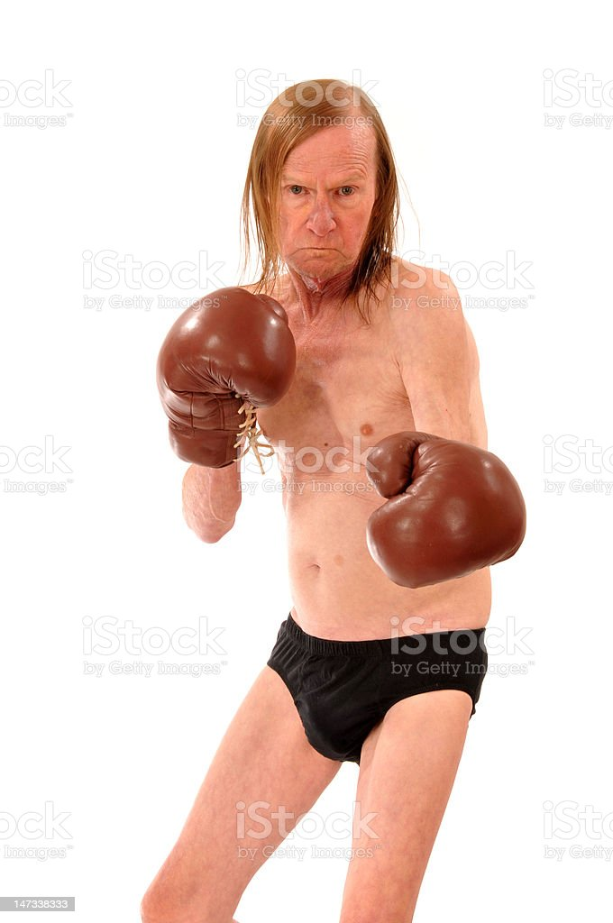 Old man the Boxer in Briefs royalty-free stock photo