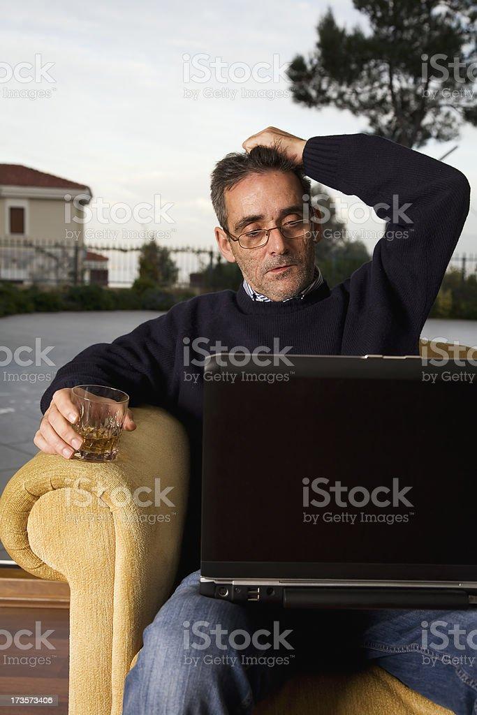 old man thinking royalty-free stock photo