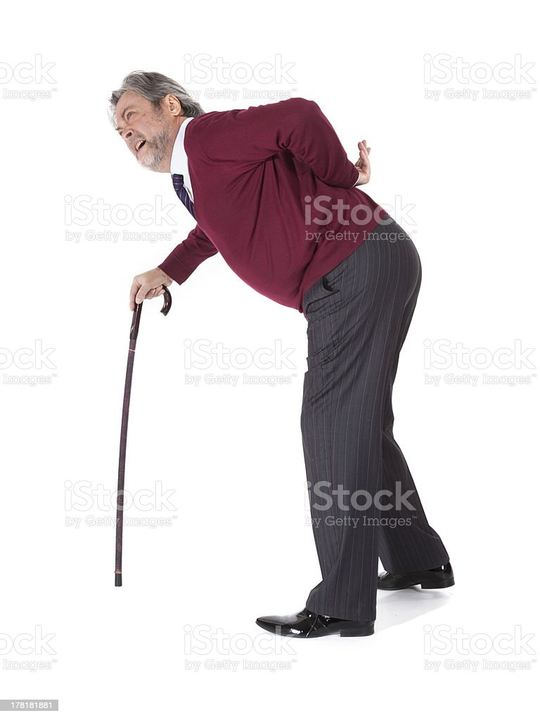 old man with a cane royalty-free stock photo