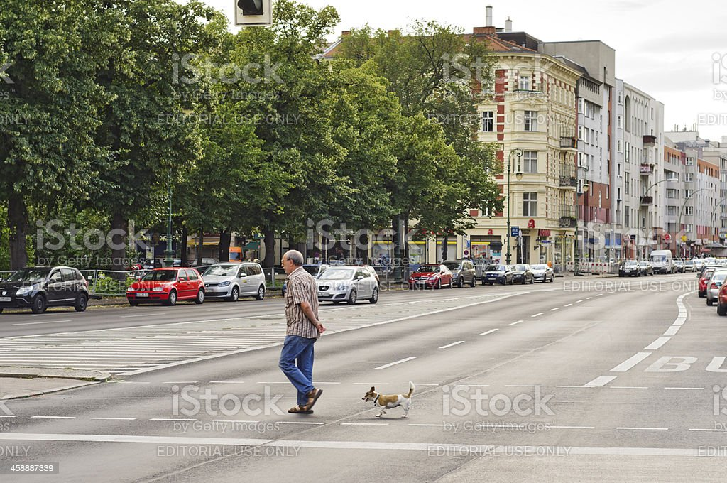 Old man with dog crossing the street royalty-free stock photo